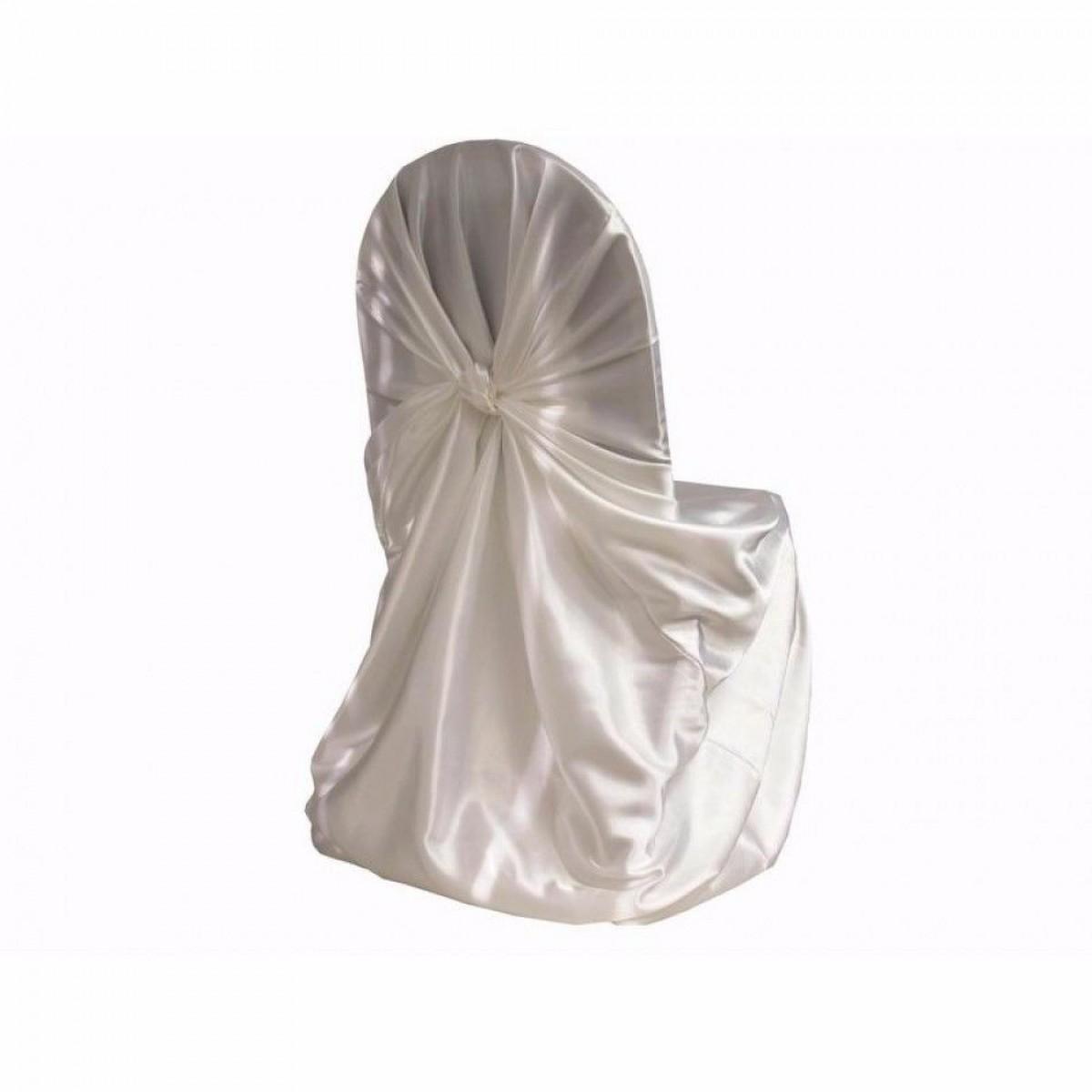 housse de chaise blanche en satin