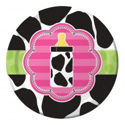 Baby shower vache - Assiette ronde 7''