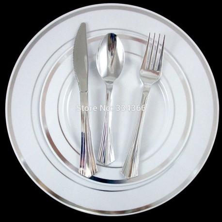 Vaisselle de mariage jetable, plastique solide, bordure argent
