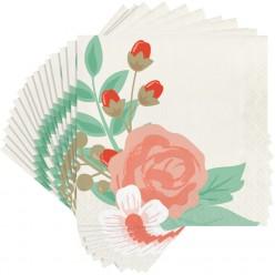 Elise - Fleur moderne - Serviettes de table 3 plis