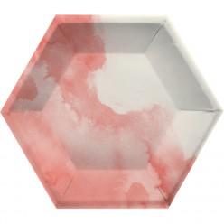 Elise - Hexagone - Assiette aquarelle rose 10''