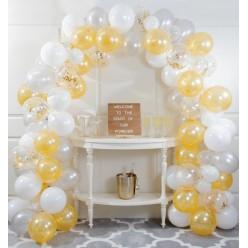 Ballons - Kit guirlande de ballons blanc et or