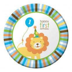 Zoo - 1er anniversaire garçon - Assiettes 9''