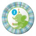Zoo - 1er anniversaire garçon - Assiettes 7''