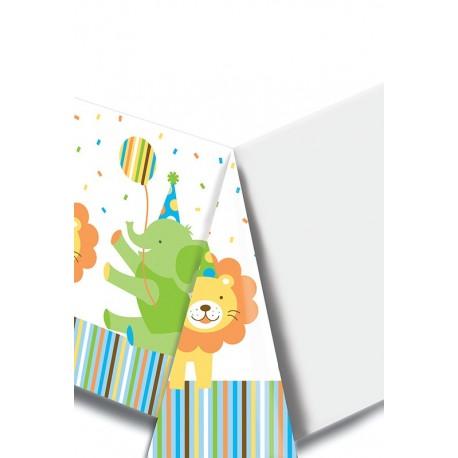 Zoo - 1er Anniversaire garçon - Nappe de table en plastique