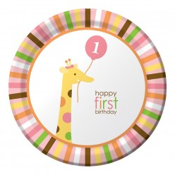 Zoo - 1er anniversaire fille - Assiette 9''