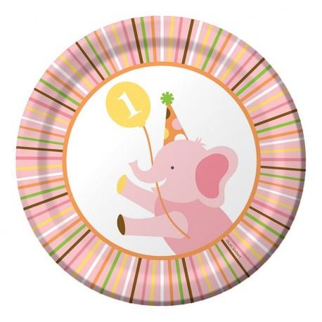 Zoo - 1er anniversaire fille- Assiettes 7''