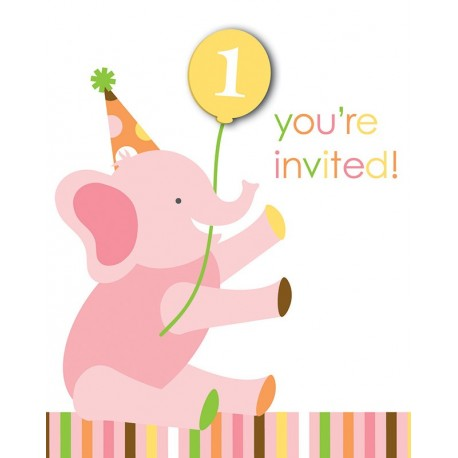 Zoo - 1er Anniversaire fille - Invitations