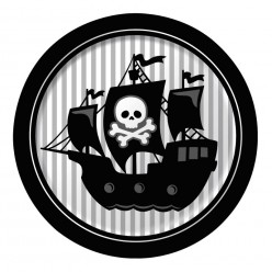 Pirate - Assiettes rondes 8,75''