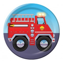 Pompier - Assiette ronde 7''