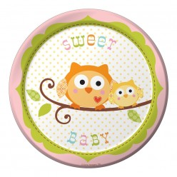Arbre - Baby shower - Fille - Assiette 7''