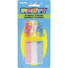Bougies avec support - couleurs assorties